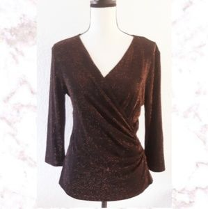 New! Dressbarn Shimmer Wrap Blouse